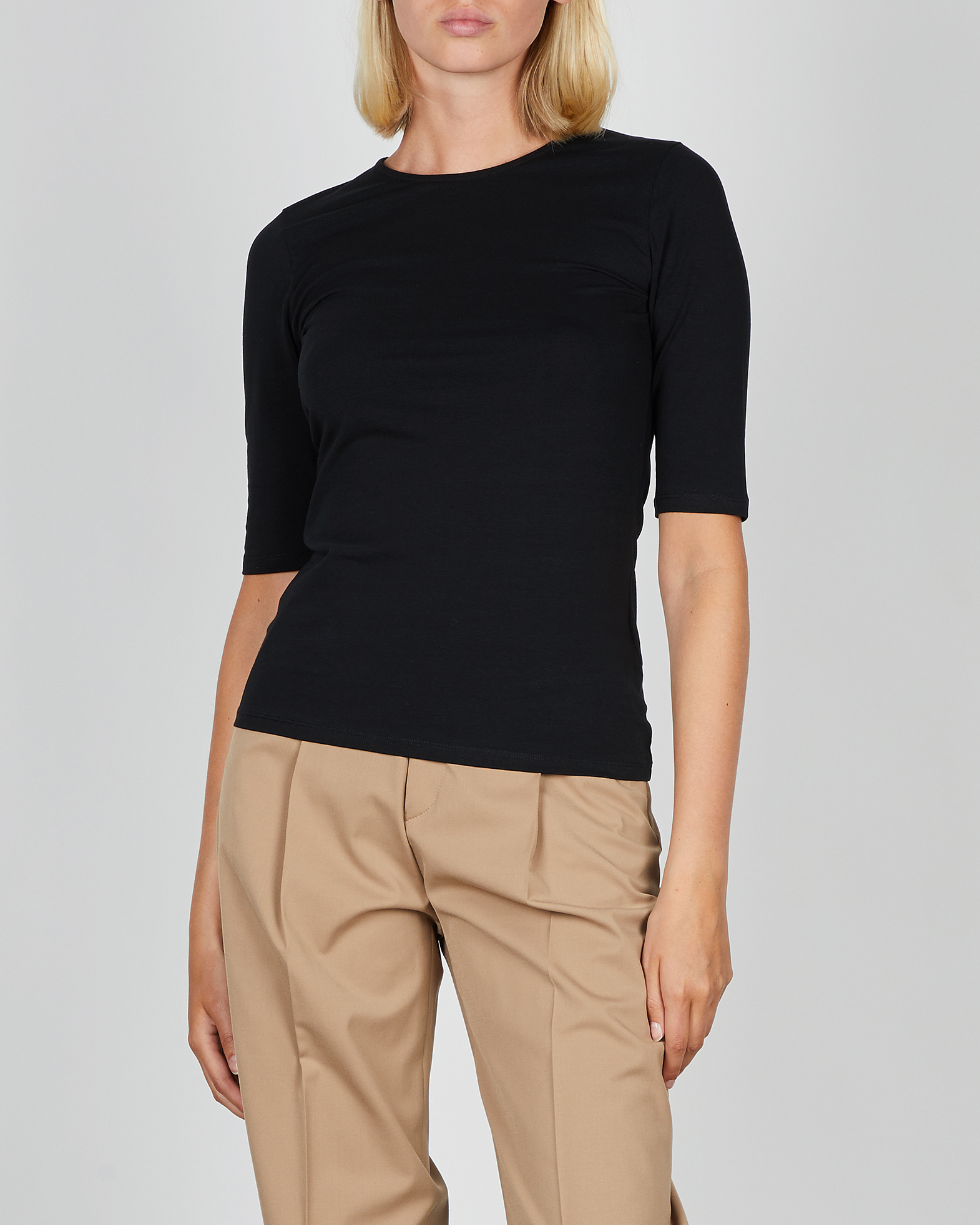 Filippa K Topp Cotton Stretch Elbow Sleeve svart XS