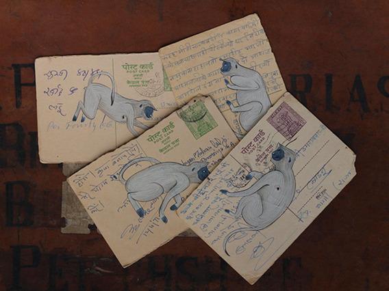 Hand-painted Vintage Indian Postcard - Mischievous Monkey