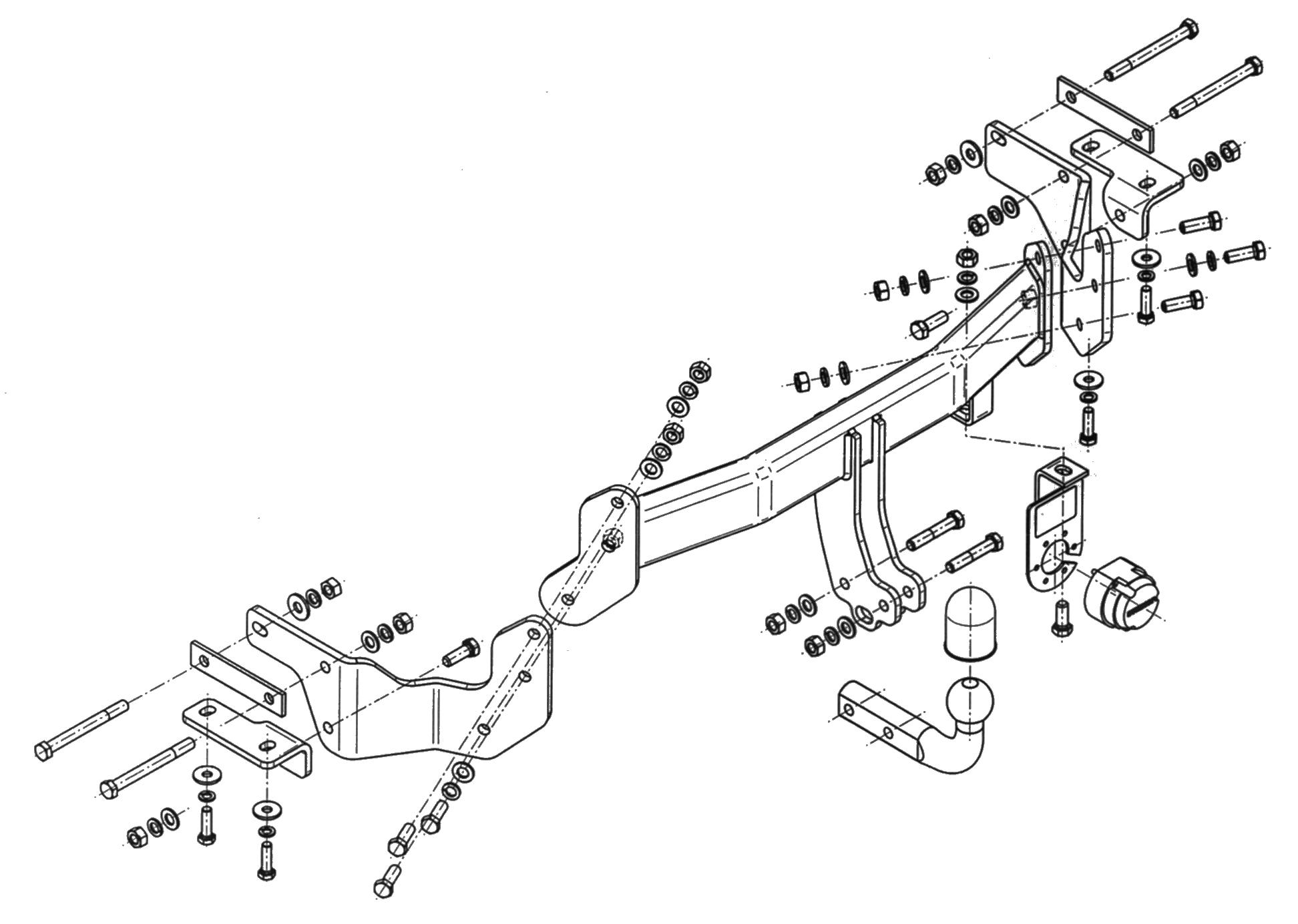 Vetokoukku STEINHOF STK-035 KIA Sorento '09-, Hyundai Santa Fe '12-