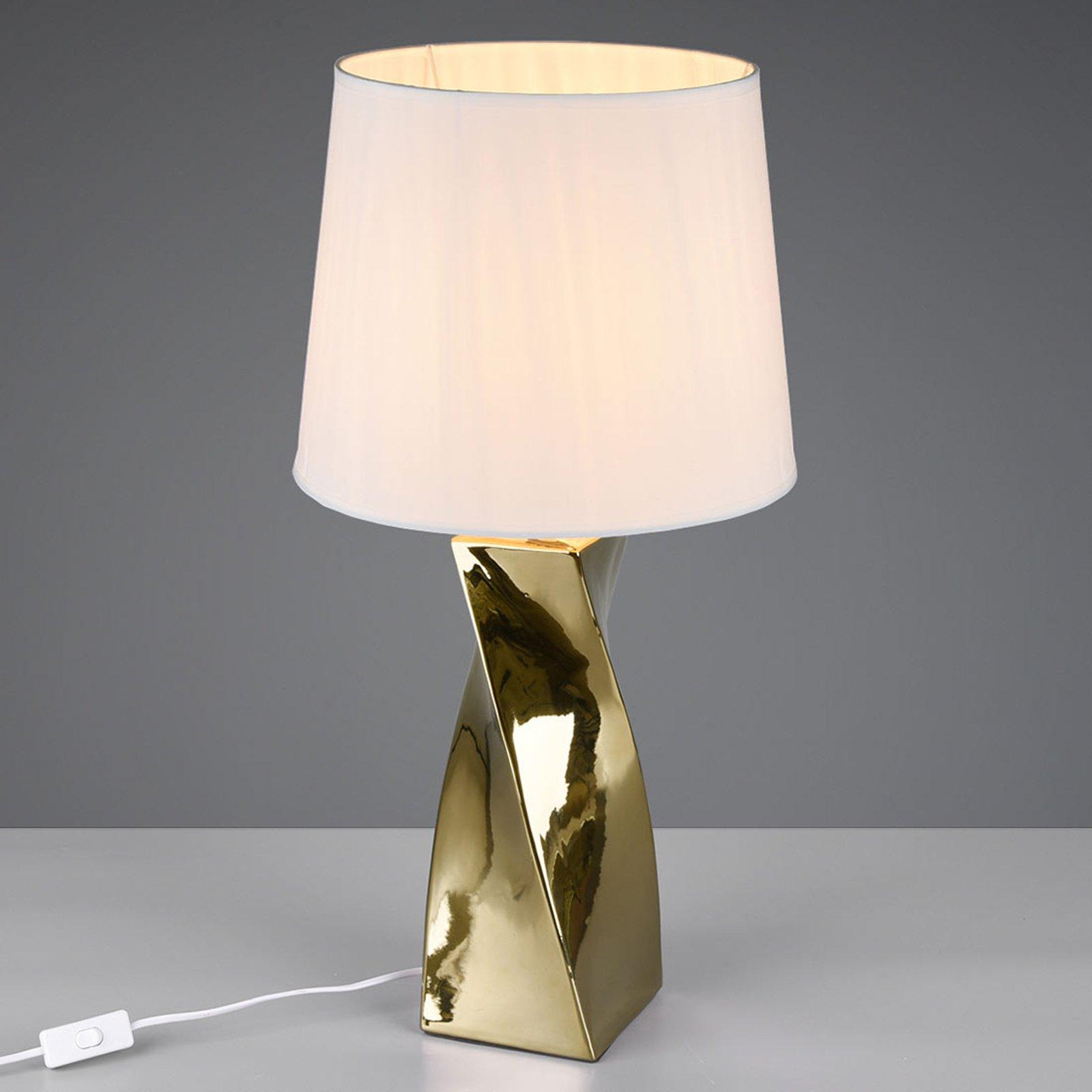 Bordlampe Abeba, Ø 34 cm, hvit-gull