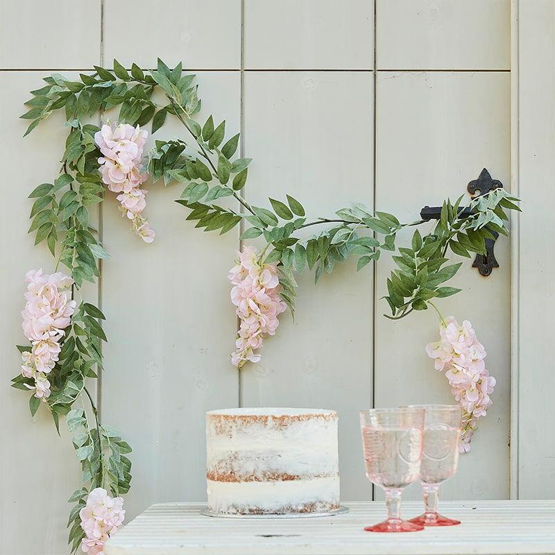 Lövgirlang med Blommor Ljusrosa