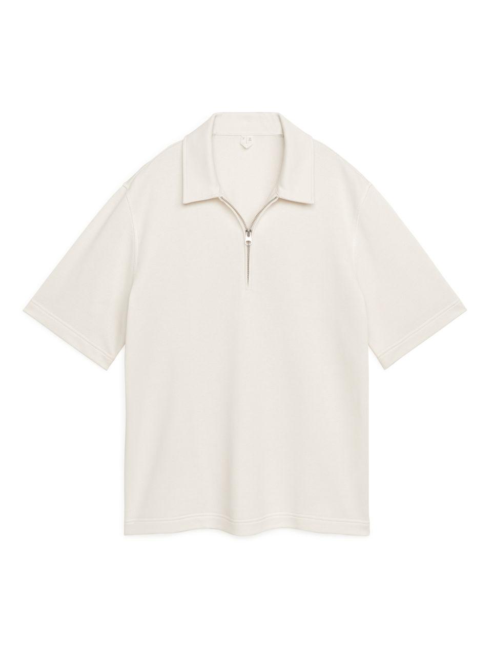 Zipped Polo Shirt - White