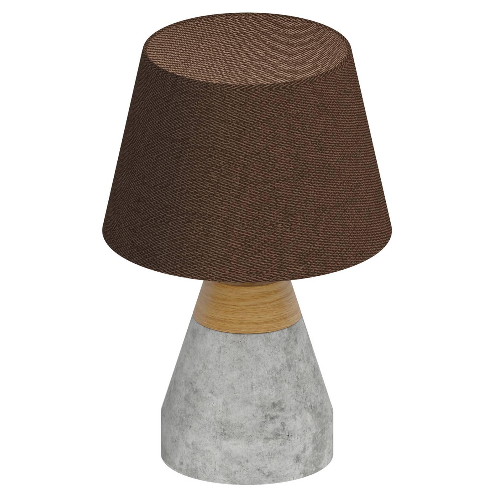 Tyylikäs Tarega-tekstiilipöytävalaisin betonijal.
