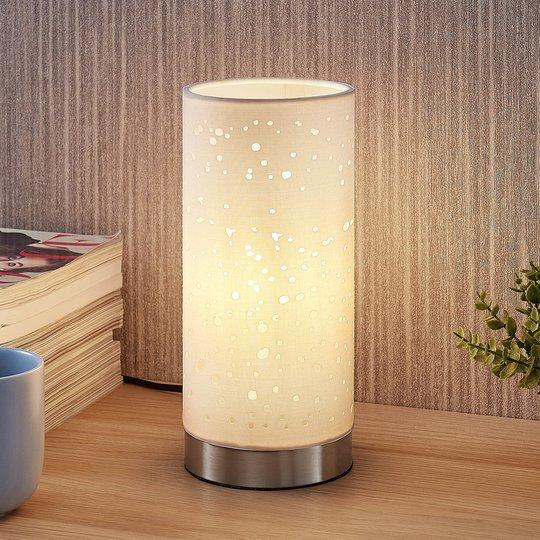 Bordlampe Umma med små utsparringer, hvit