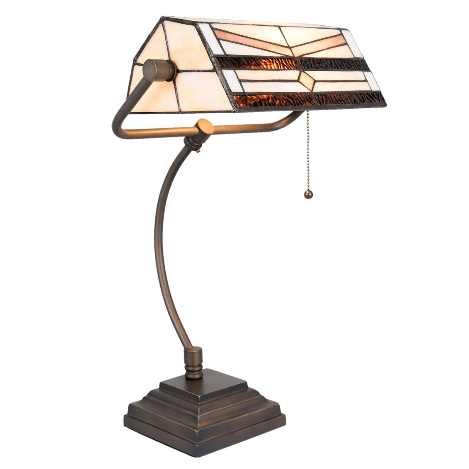 5193 skrivebordslampe i Tiffany-design, krem