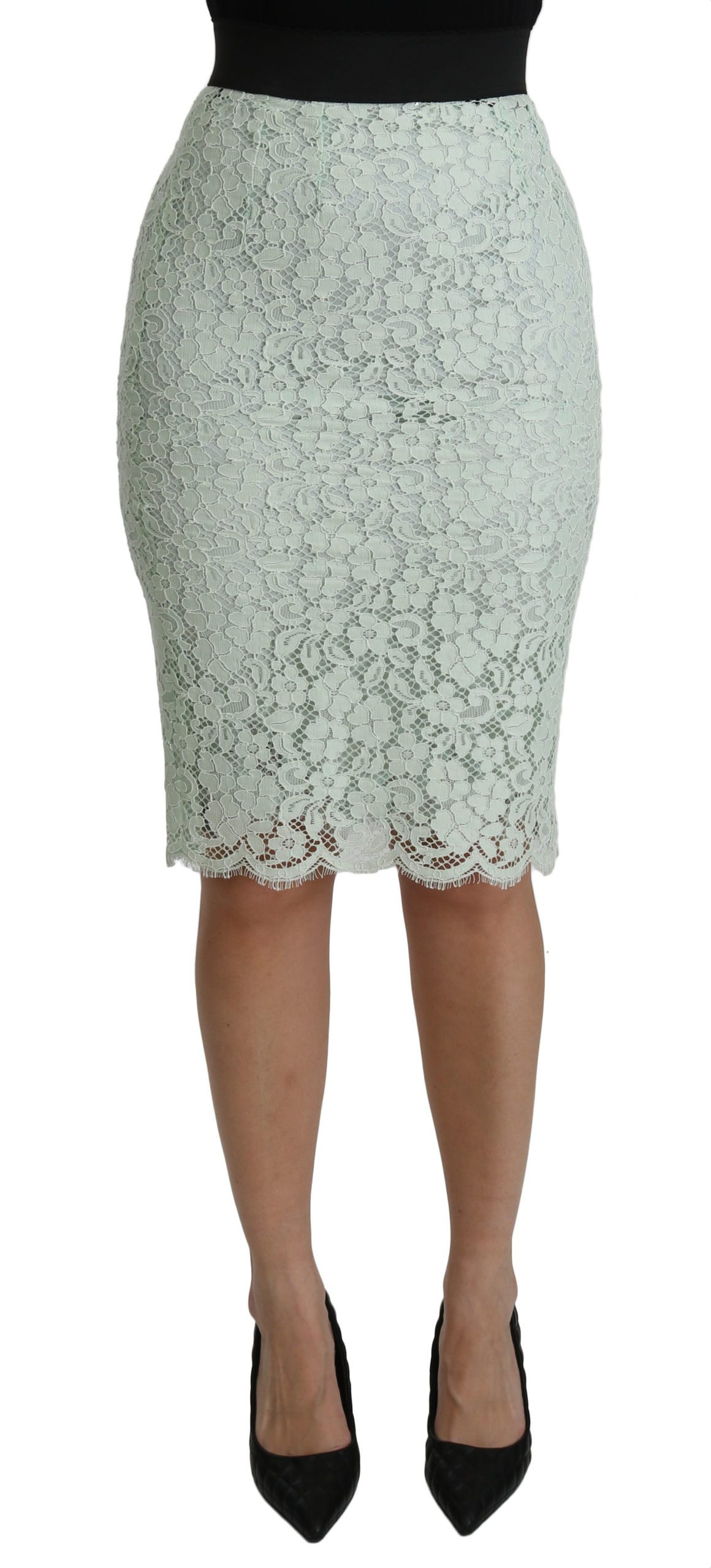 Dolce & Gabbana Women's Lace Pencil High Waist Cotton Mint Skirt Green SKI1380 - IT36   XS