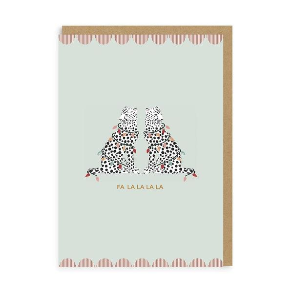 Fa La La Cheetahs Christmas Card