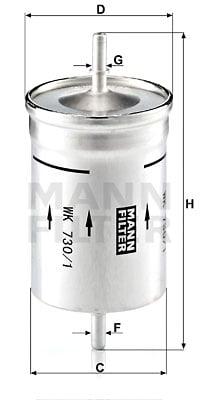 Polttoainesuodatin MANN-FILTER WK 730/1