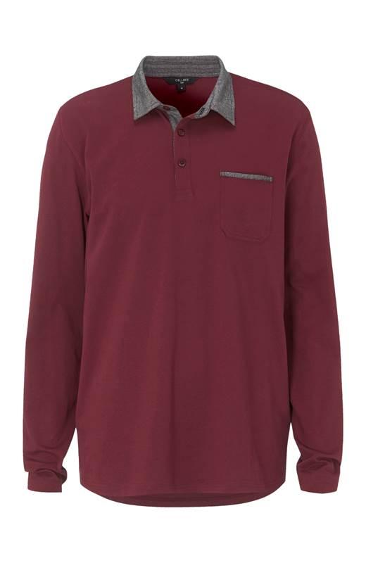 Cellbes Bekväm långärmad tröja med krage Vinröd