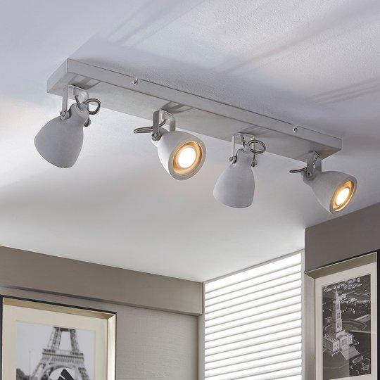 Nelilamppuinen LED-kattovalaisin Kadiga, betonia