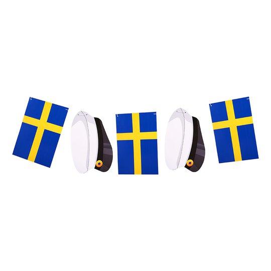 Girlang Sverigeflaggor och Studentmössor