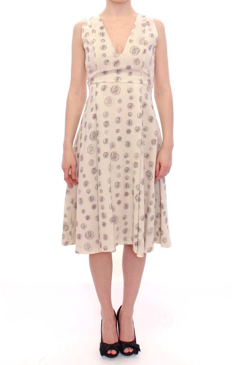 Andrea Incontri Women's Printed Shift V-neck Sheath Dress White MOM10154 - IT44|L