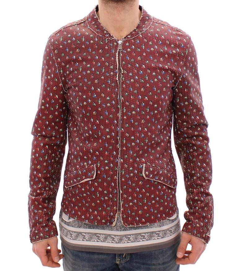 Dolce & Gabbana Men's Leather Boxer Print Jacket Bordeaux GSD12728 - IT48   M