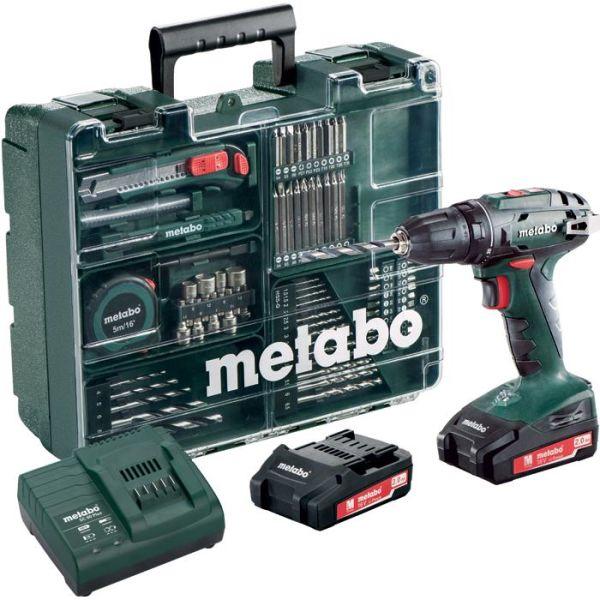 Metabo BS 18 SET Borskrutrekker med 2,0Ah-batterier og lader