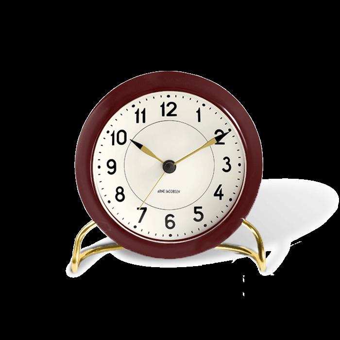 Arne Jacobsen - Station Table Clock  - Bordaux/White (43676)