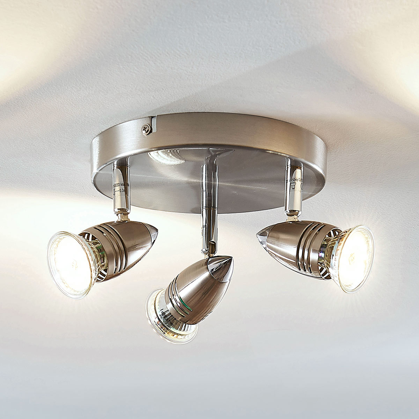 LED-kattokohdevalo Benina, 3-lamppuinen, pyöreä