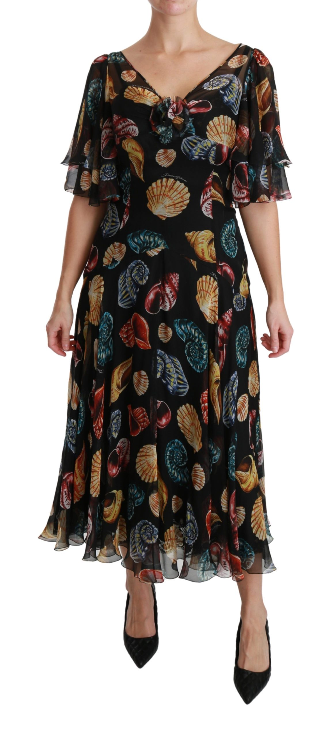 Dolce & Gabbana Women's Sea Shells Maxi A-line Midi Silk Dress Black DR2536 - IT40|S