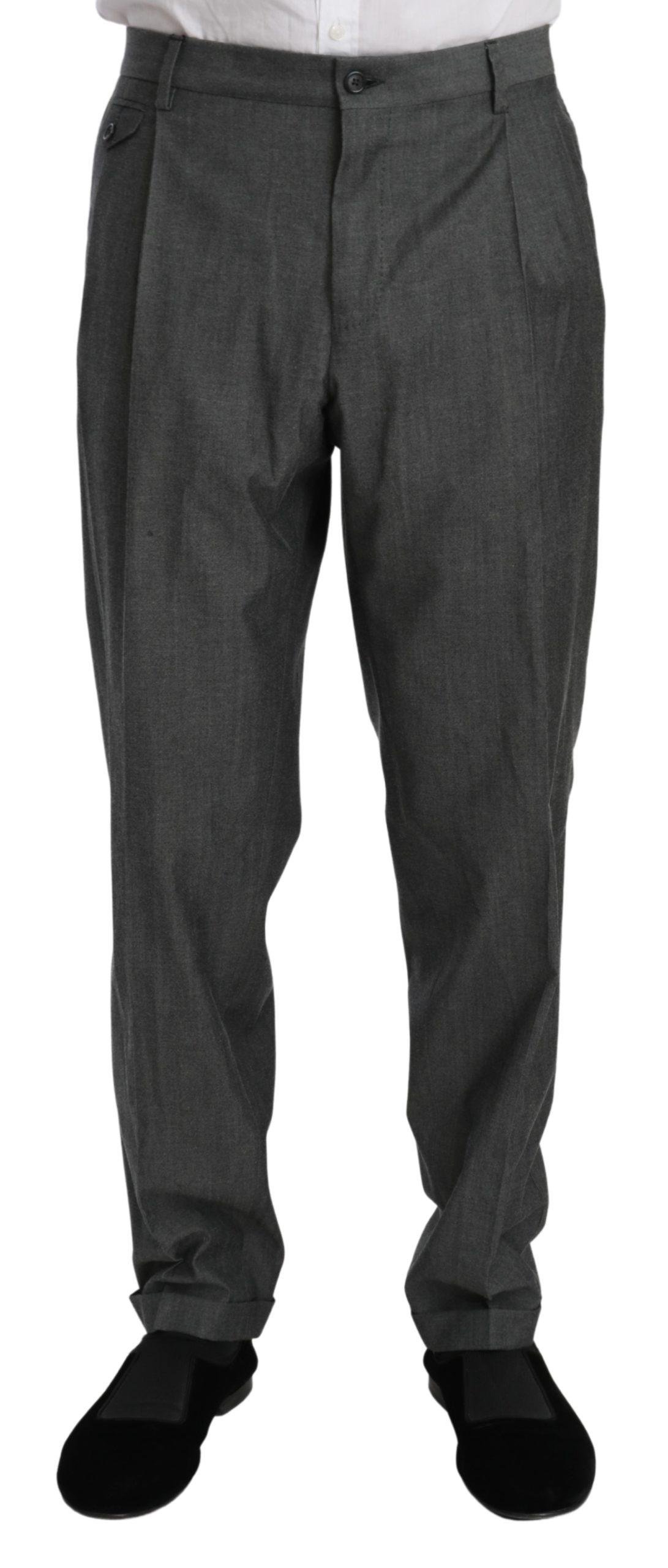 Dolce & Gabbana Men's Formal Dress Virgin Wool Trouser Gray PAN70996 - IT54 | XL