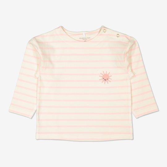 Stripet, langermet genser baby lysrosa