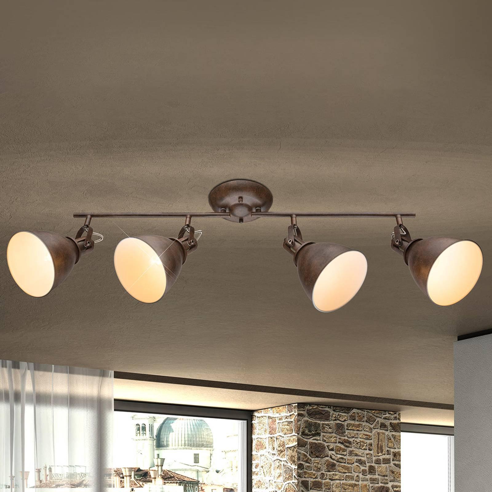 Giorgio – takspot med 4 lyskilder, i rustbrunt