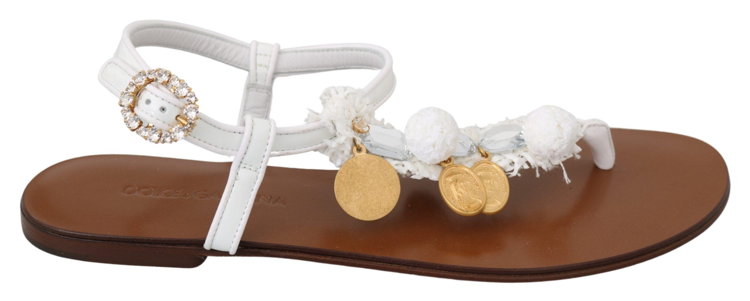 Dolce & Gabbana Women's Crystal Coins Sandal White LA6889 - EU36/US5.5