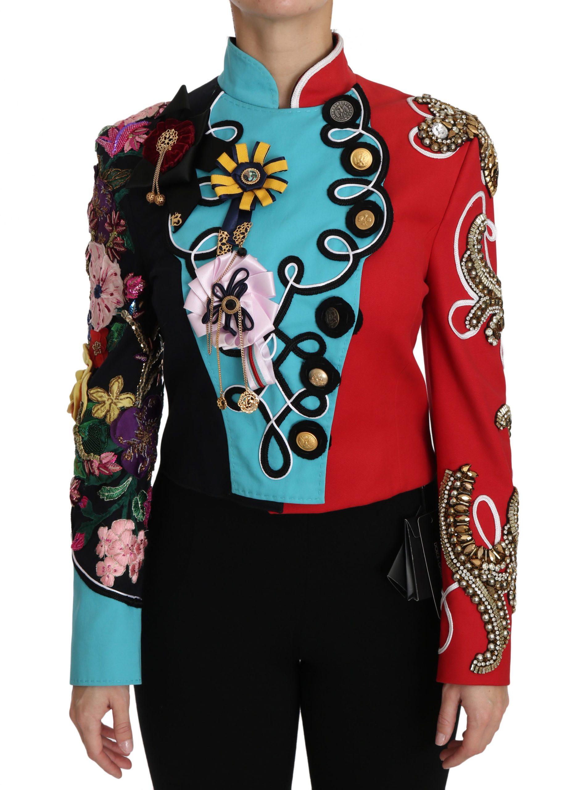 Dolce & Gabbana Women's Crystal Floral Baroque Sicily Jacket Red JKT2411 - IT38 | S