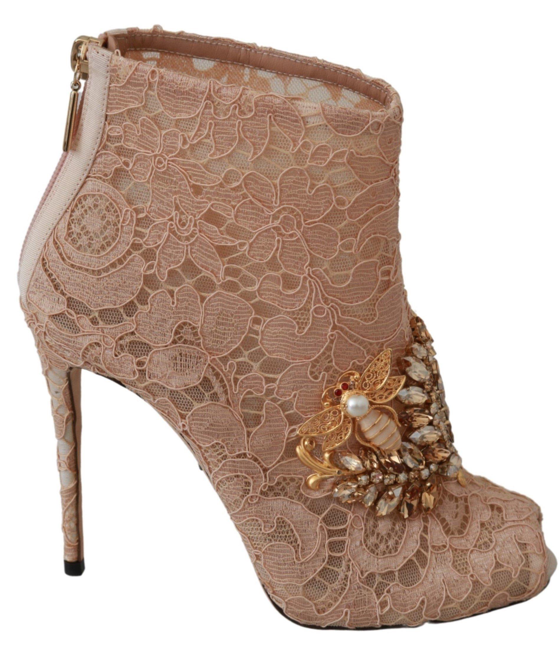 Dolce & Gabbana Women's Crystal Lace Booties Sandal Pink LA6493 - EU36/US5.5