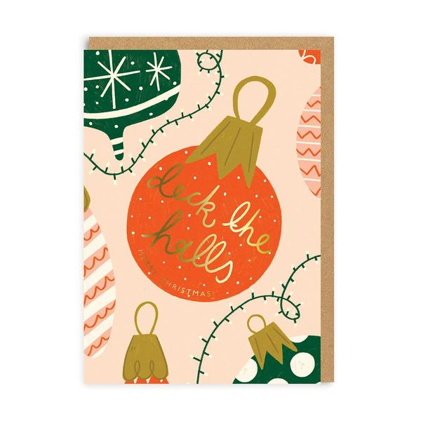 Deck The Halls Baubles Christmas Card