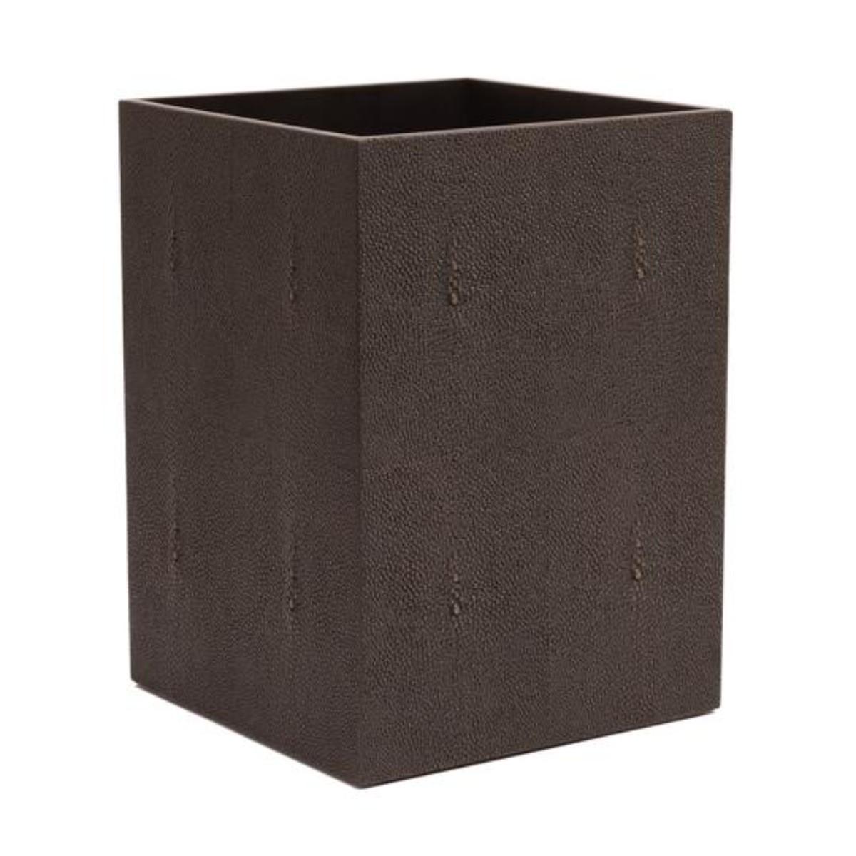 Posh Trading I Chelsea Waste Paper Basket | Chocolate Shagreen