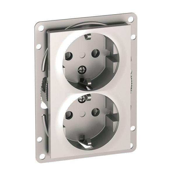 Elko Plus Option Seinäpistorasia 2-osainen, Plus Option -malliin Alumiini