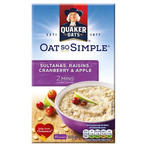 Quaker Oat So Simple Sultana Raisin Cranberry 385g