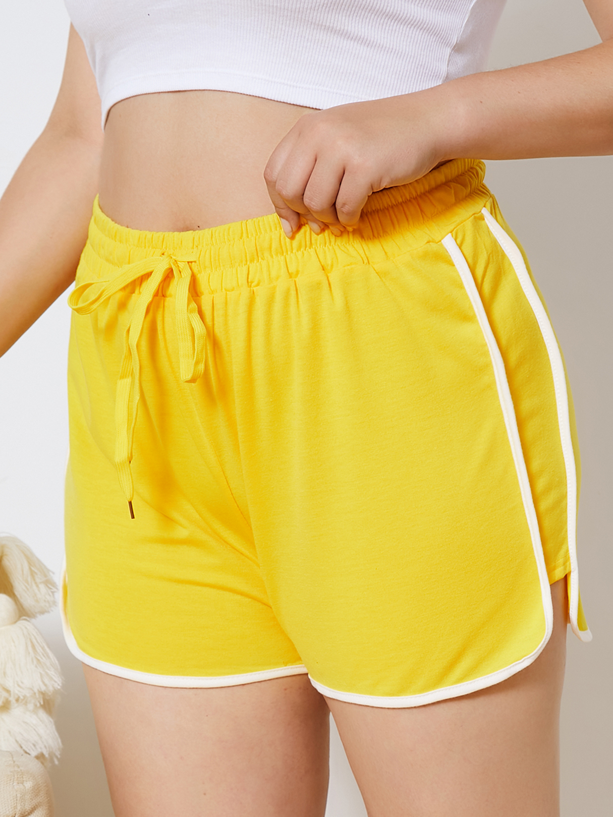 Plus Size Yellow Drawstring Shorts