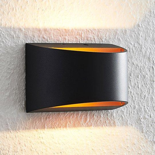 Arcchio Jasina-LED-seinävalaisin puolipyöreä musta