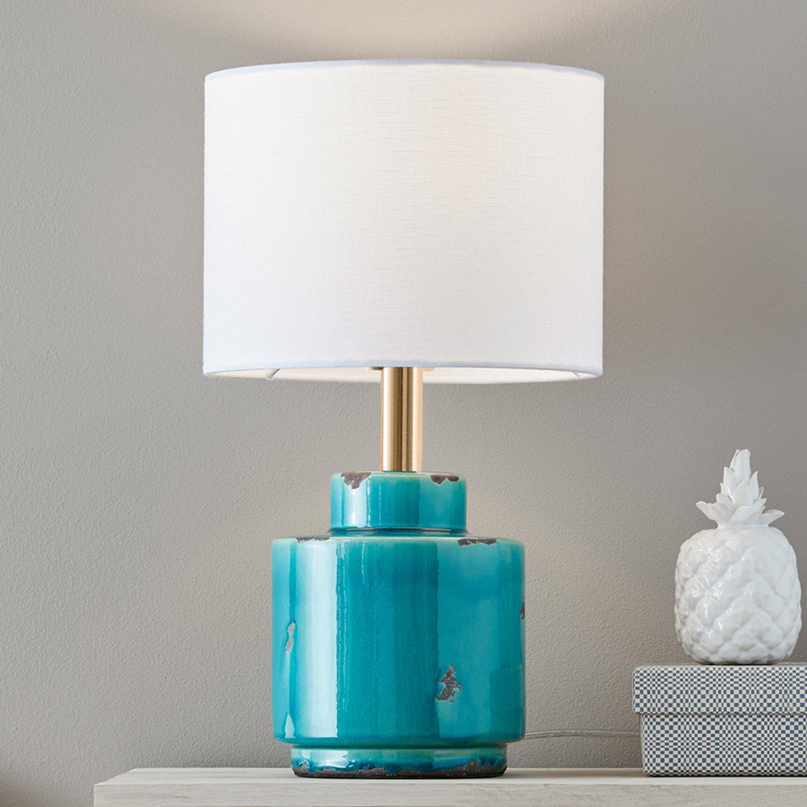 Tekstilbordlampe Cous med keramikkfot