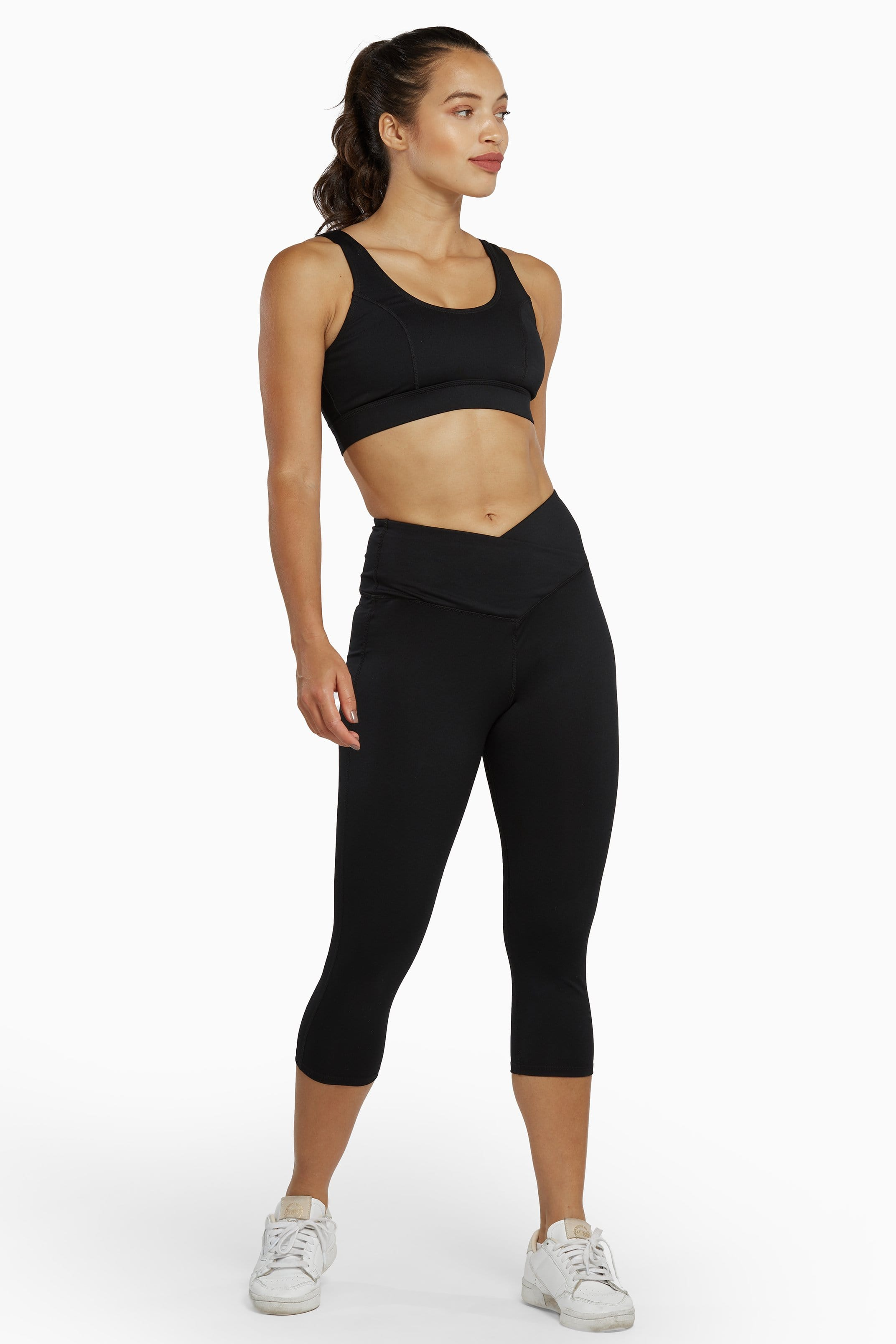 Wolf & Whistle Black Cropped Leggings with Crossover Waistband UK 10 / US 6