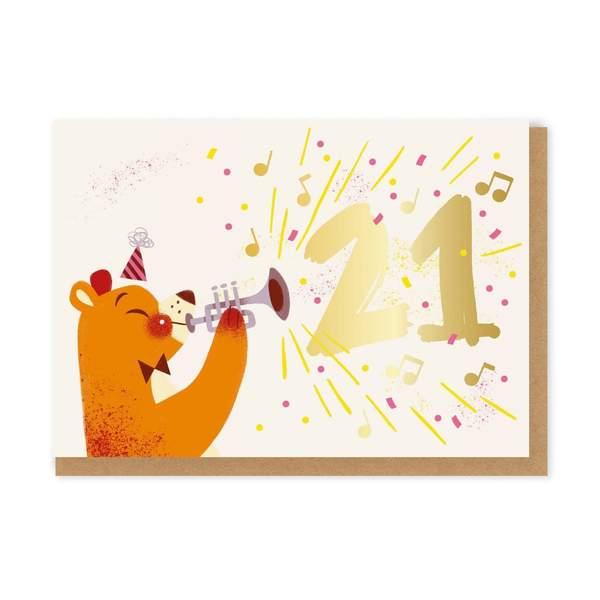 21 Trumpet Bear Birthday Greeting Card