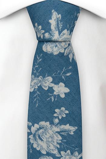 Bomull Smale Slips, Blå denim med store hvite blomster, Blå, Blomster