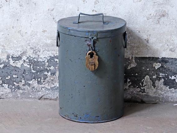 Vintage Grey Storage Drum Grey