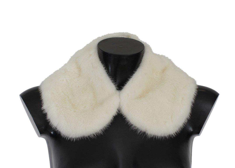 Dolce & Gabbana Women's Mink Fur Shoulder Collar Scarf White MS1567 - IT36 XXS