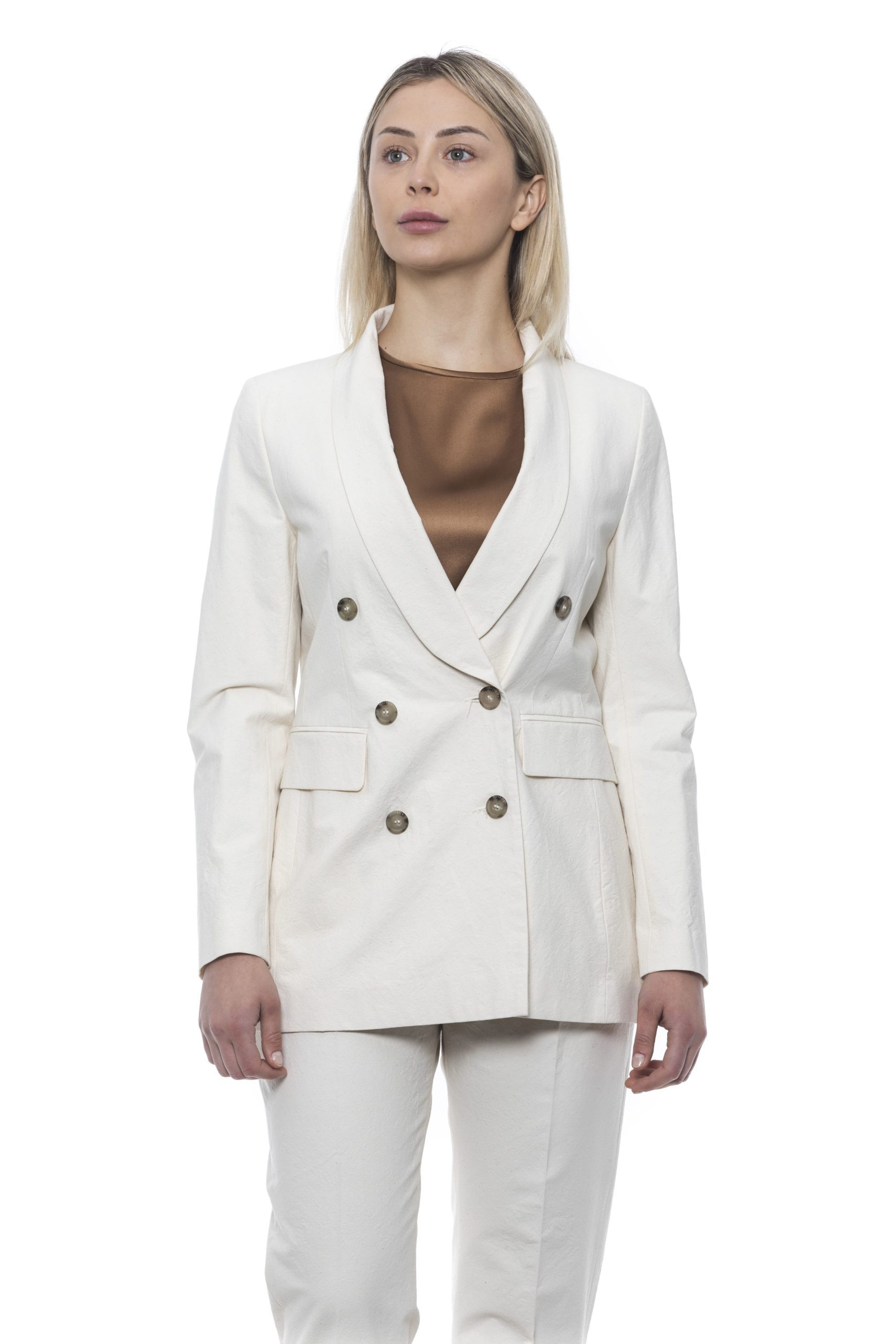 Peserico Women's Blazer White PE1426856 - IT42   S