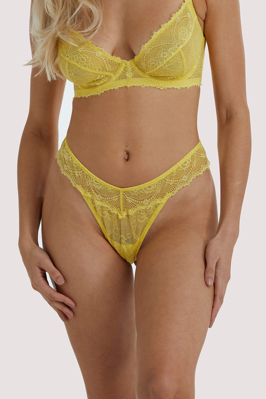 Wolf & Whistle Ariana Yellow Everyday Lace Thong UK 10 / US 6