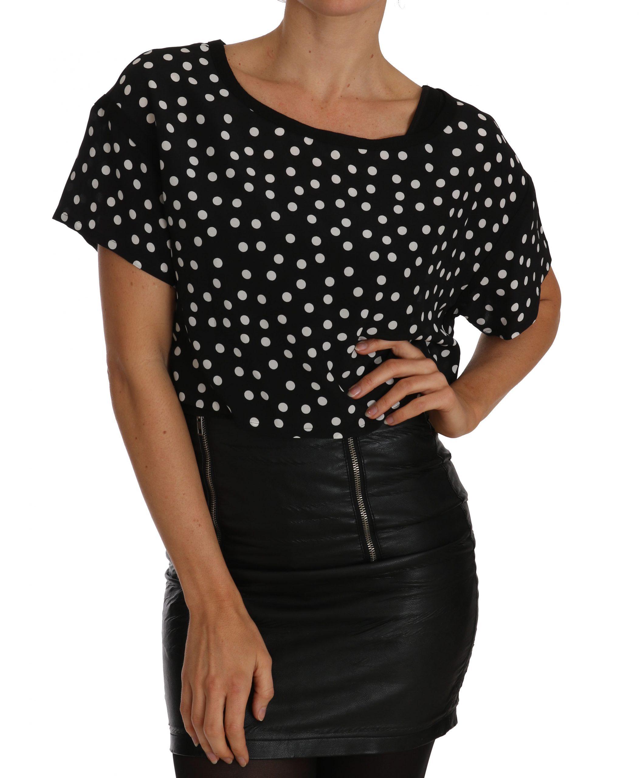 Black White Polka Dot Crop Top Blouse - IT42|M