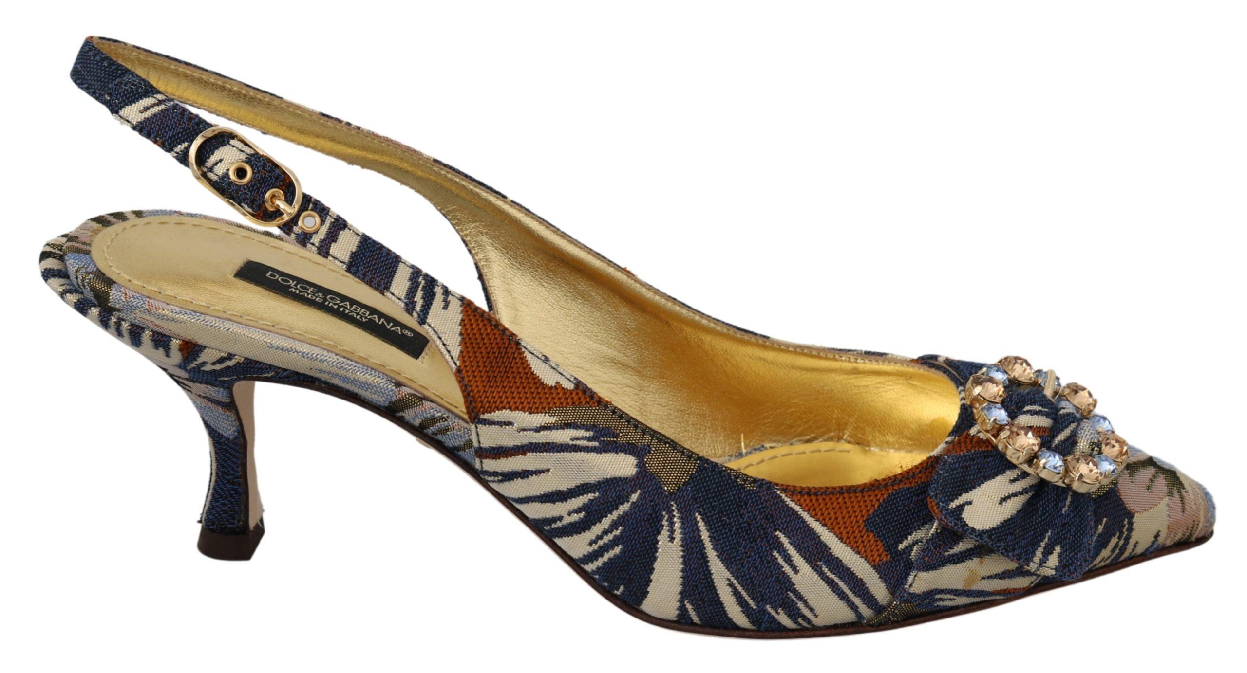Dolce & Gabbana Women's Slingback Crystal Jacquard Heels Multicolor LA6953 - EU39/US8.5
