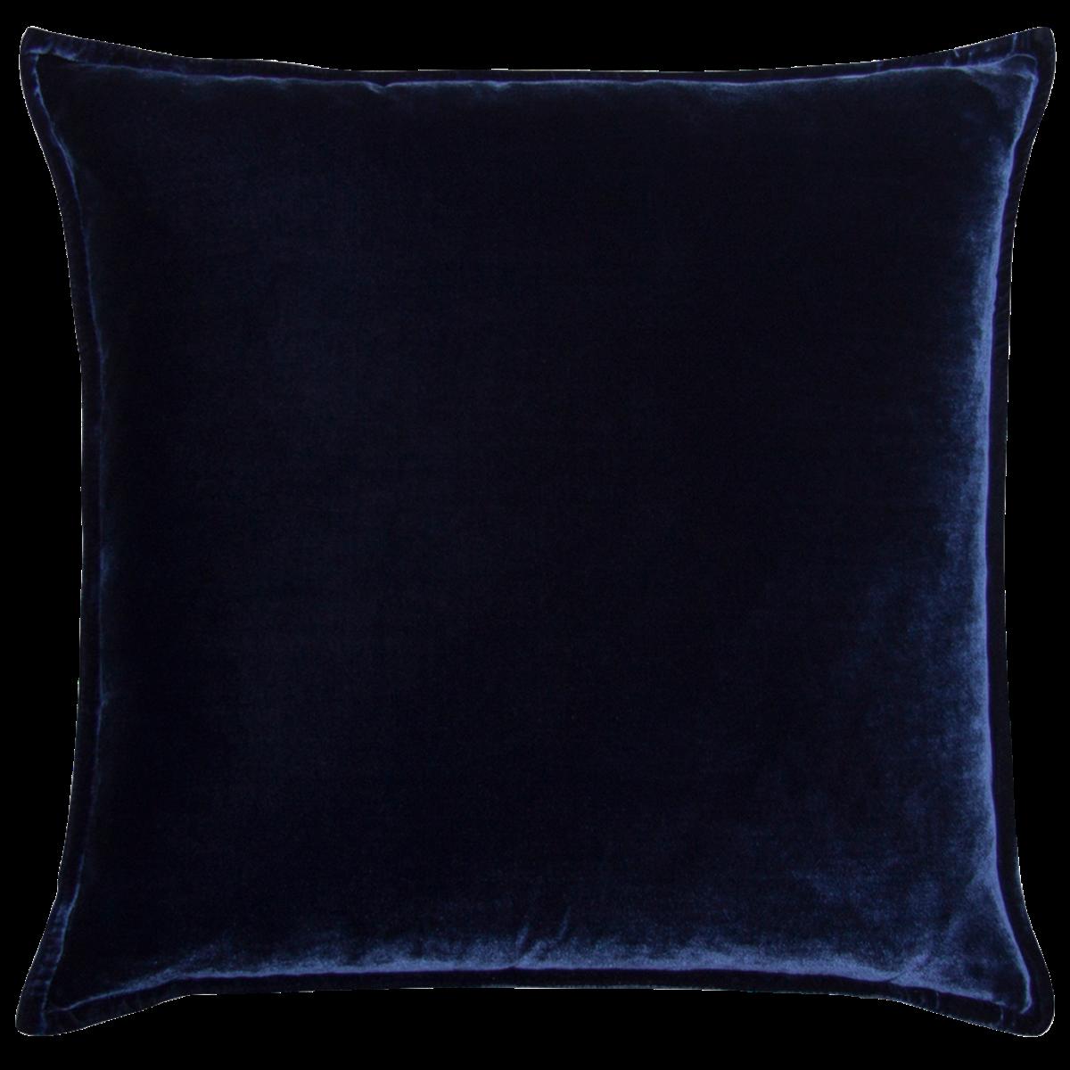 de Le Cuona | Silk Velvet And Linen Flange Cushion Navy