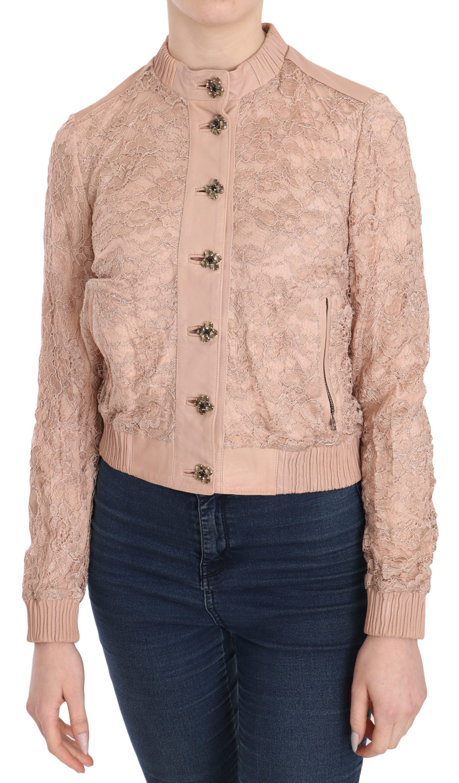 Dolce & Gabbana Women's Leather Lace Crystal Coat Pink TSH3704 - IT40|S