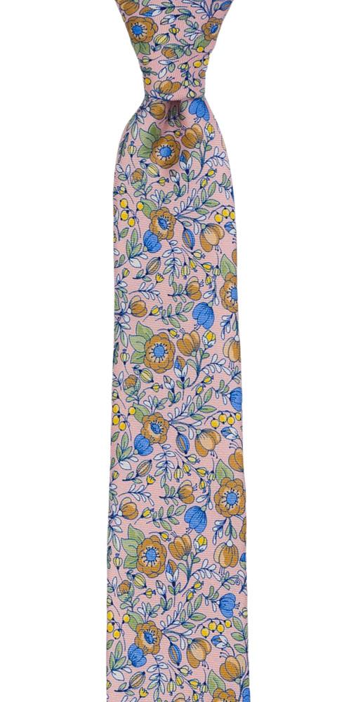 Silke Smale Slips, Blå, beige, grønne & gule blomster på blekrosa