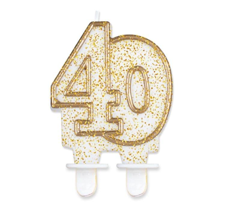 Tårtljus guldglitter 40 år