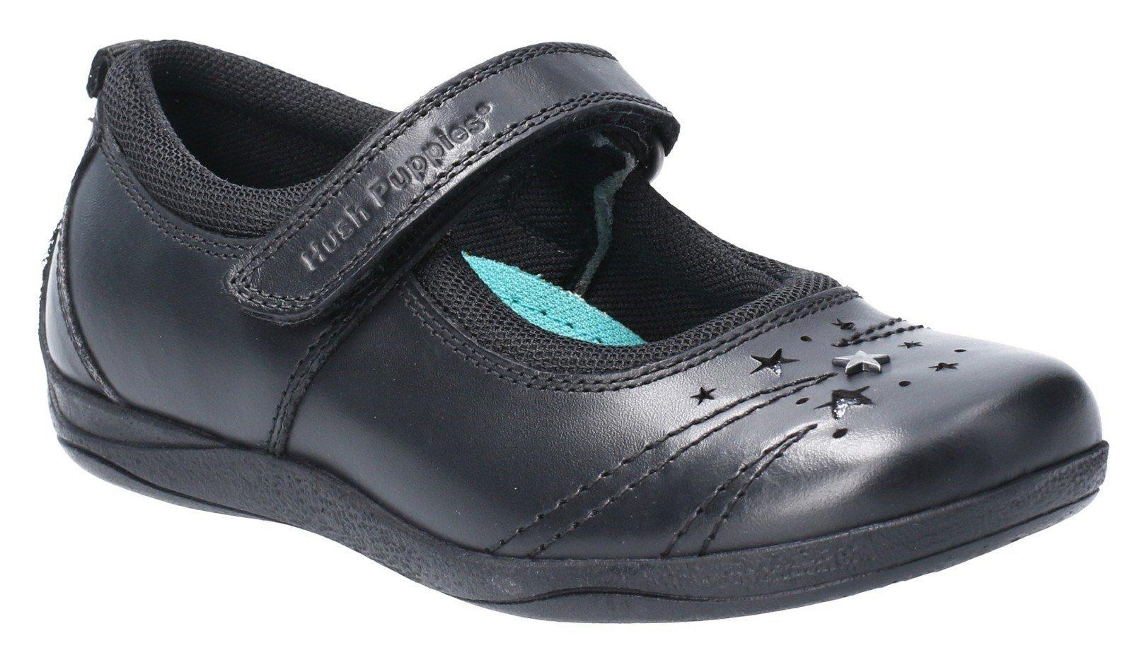 Hush Puppies Kid's Amber Jnr Touch Fastening School Shoe Black 28979 - Black 13.5 UK