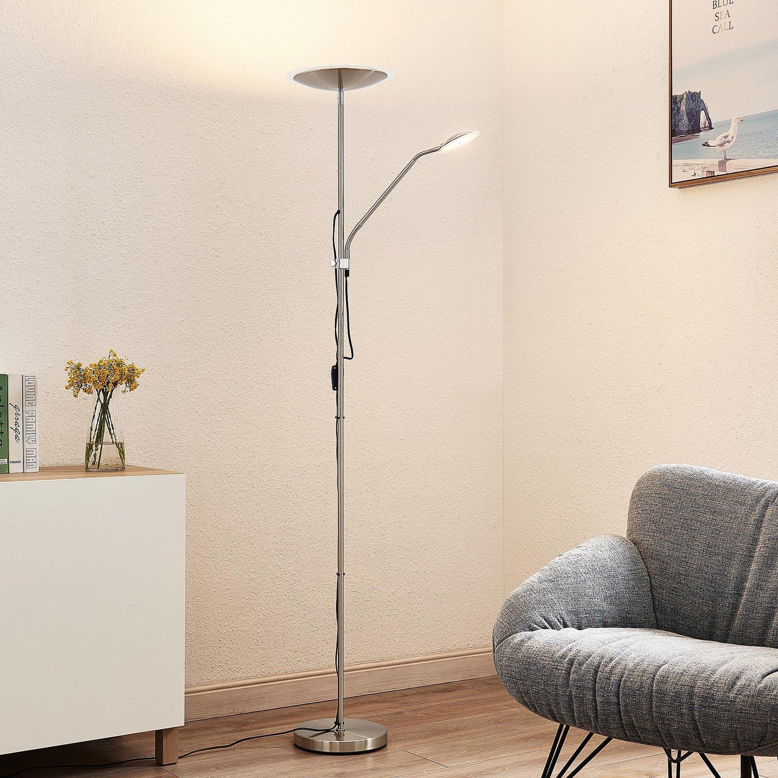Lindby Heliani LED-gulvlampe, 2 lyskilder, krom