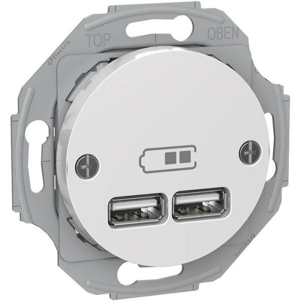 Schneider Electric Renova WDE011760 Latausasema 2 USB, valkoinen
